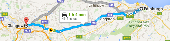 moving Edinburgh to glasgow map