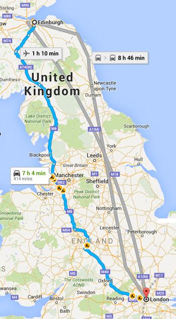 Edinburgh to London map