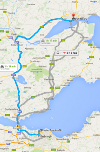 Edinburgh to dundee moving distance Map