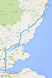 Edinburgh to Aberdeen map