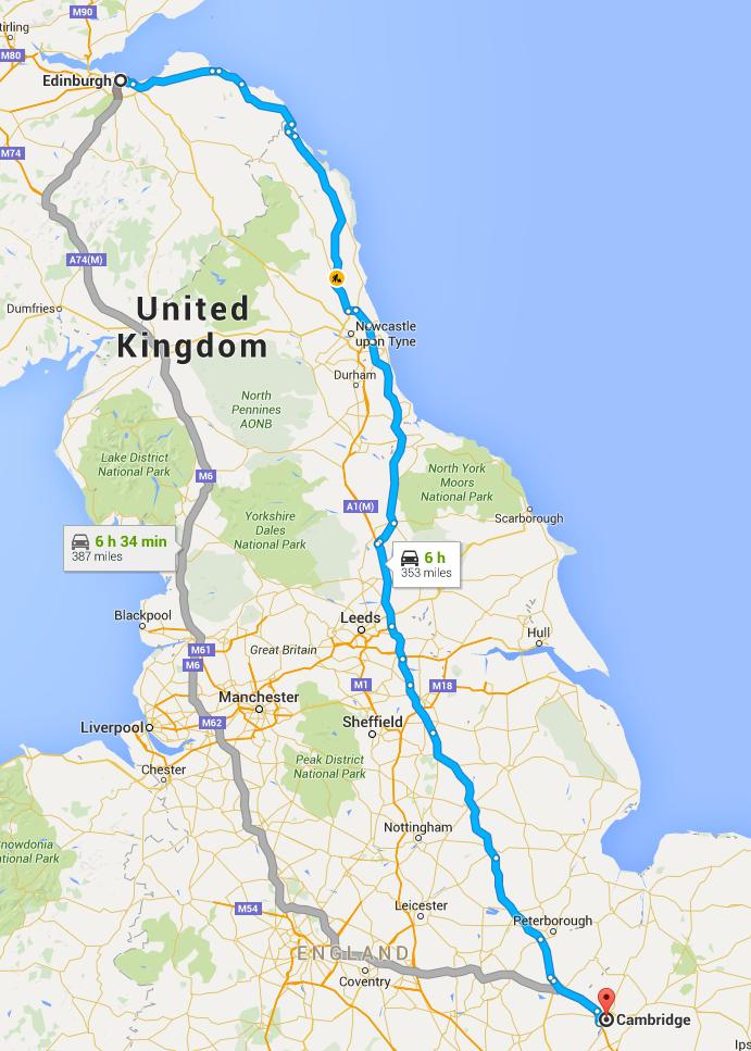 Edinburgh to Cambridge distance map