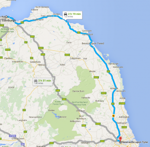 Edinburgh to Newcastle removals map