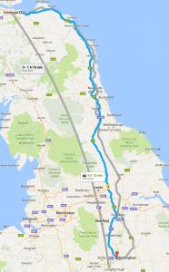 Edinburgh Nottingham relocation van removals map