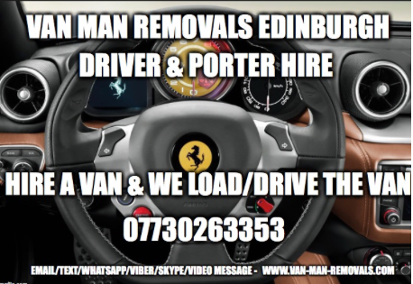 Van man removals Edinburgh driver porter hire